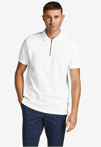 JACK & JONES white Structure Polo Shirt 87F2CAAE07A1C2GS_1