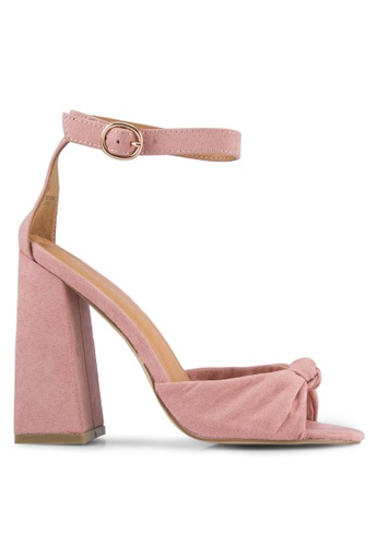 Public Desire pink Embrace Knotted Flared Heels PU378SH0S9O5MY_1