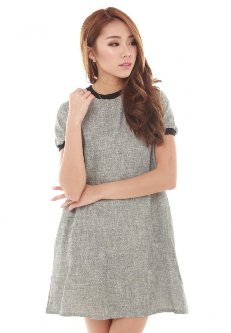 Grey Sophialuv Dress Lisea Grey in Trapeze Short Sleeve SvwRCv