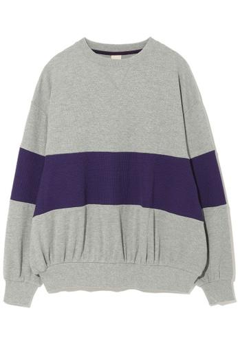 DOUBLE NAME grey Contrast stripe sweater. 15516AAA82DA4DGS_1