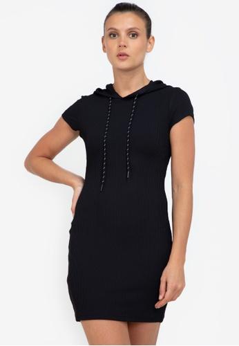 ZALORA ACTIVE black Ribbed Sleeveless Hoodie Dress DEFEDAA753C79BGS_1