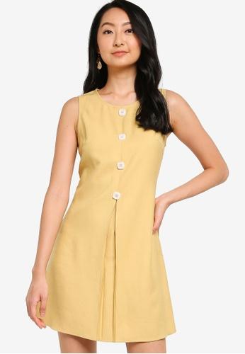 ZALORA BASICS yellow Mini Dress With Pleat And Buttons 09601AAA6FD02CGS_1