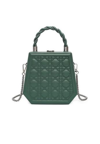 Lara green Women's Embossed  Hexagon Chain Bag - Green A9443ACA216265GS_1