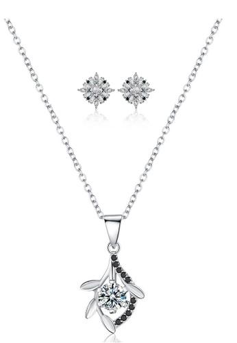 A-Excellence black Premium Elegant Black Sliver Necklace Earring Set 59880ACAD77A4BGS_1