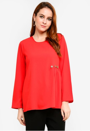 Aqeela Muslimah Wear red Embellished Gather Top E478FAA70F652EGS_1