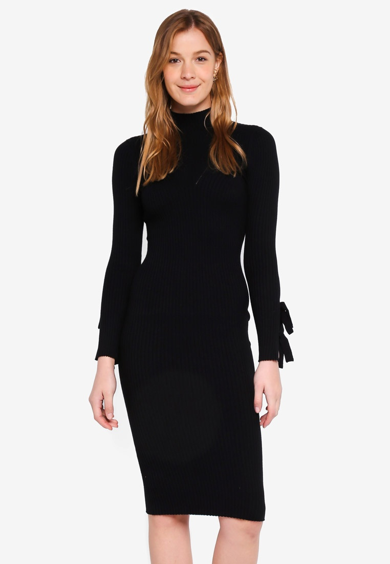 Midi Guess Sabine Black High Sweater Dress Neck Jet XUXrRqwEp