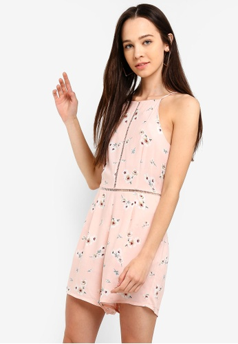 Something Borrowed pink Playsuit With Fagotting Trim 79FCCAAA39E77EGS_1