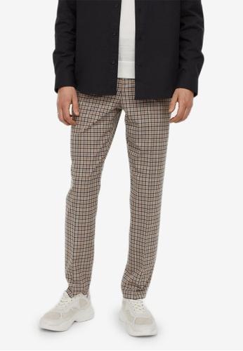 H&M multi and beige Slim Fit Cigarette Trousers 595E0AA680E6D2GS_1
