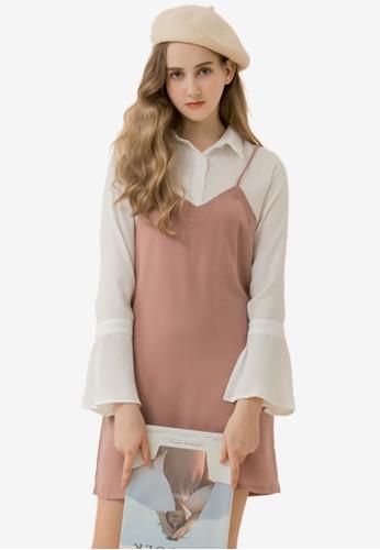 Eyescream pink Faux 2-Piece Cami Dress 08217AA29E1DE7GS_1