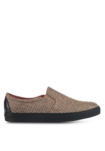 ACUTO brown Weave Slip-On Sneakers AC283SH0SL7QMY_1