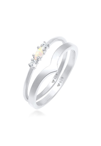 ELLI GERMANY white Marquise Opal V-Form Zirconia Ring Set 17E02ACCFB21EEGS_1