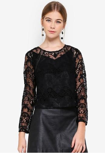 Miss Selfridge black Petite Sheer Lace Top D7A6CAA5AE6EB0GS_1