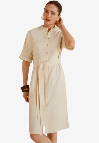 Mango beige Bow Soft Dress 03E1EAA1D9CC88GS_1