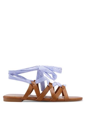 ZALORA 褐色 交叉繞帶涼鞋 2D34FSH0C56D0EGS_1
