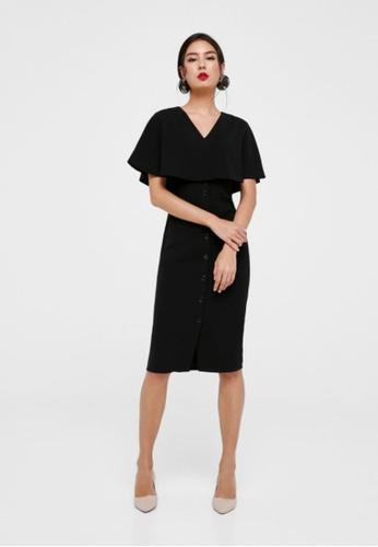 Love, Bonito black Ximena Cape Overlay Midi Dress 6D686AAB4C1BF1GS_1