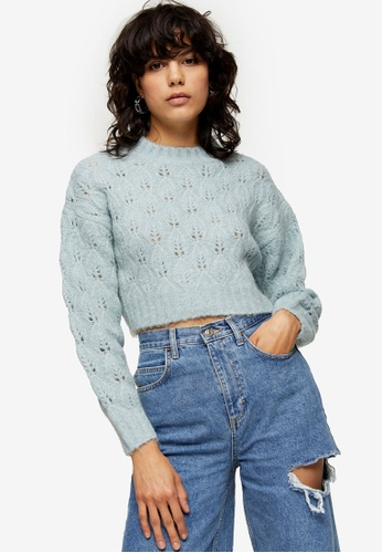 TOPSHOP blue Blue Stitch Cropped Knitted Jumper FFCA0AAD3FA12DGS_1