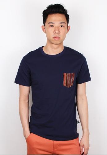 Moley navy Aztec Pocket T-Shirt MO329AA0FI4WSG_1