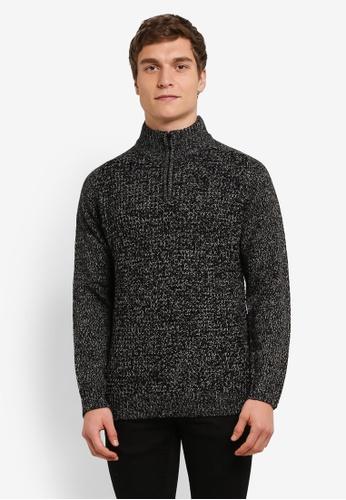Burton Menswear London 黑色 Black Zip Jumper BU964AA0S9Q8MY_1