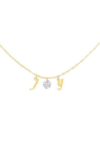 Khoe 黃色 Khoe 18K黃金鑽石字母JOY頸鏈吊飾 15877AC0721C73GS_1