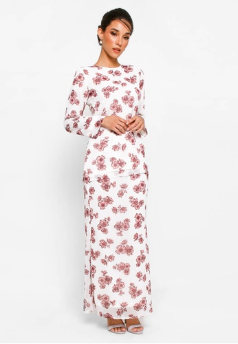 Kurung Basic D-22 from BETTY HARDY in White and Red