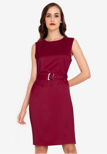 ZALORA WORK red Self Tie Buckle Dress 90C13AA429A73CGS_1