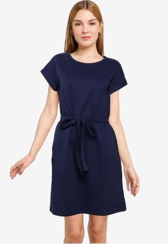 UniqTee navy Belted T-Shirt Dress 6200FAAD0E6E79GS_1