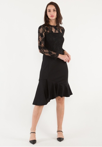 BEBEBUTTERFLY black BebeButterfly High Round Neck Long Sleeve Evening/Cocktail Midi Dinner Dress With Lace C65CDAA5D1C825GS_1