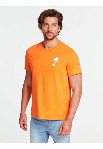 Guess orange Guess Crew Neck Short Sleeves Palmography Tee C55D5AA2D32CDEGS_1
