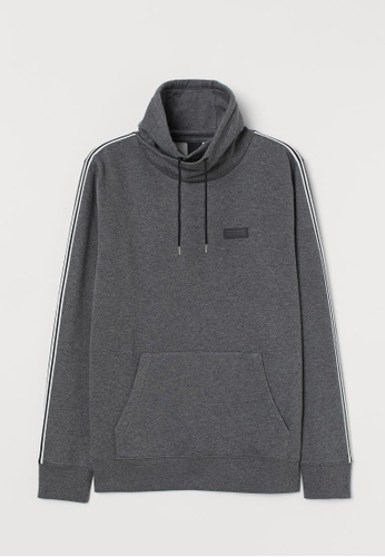 H&M grey Funnel-collar sweatshirt E9C2DAA547DBF4GS_1