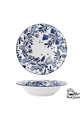 Table Matters multi Rosemary Blue - Hand Painted 9 inch Pasta Plate D9B12HLD8EB37FGS_1