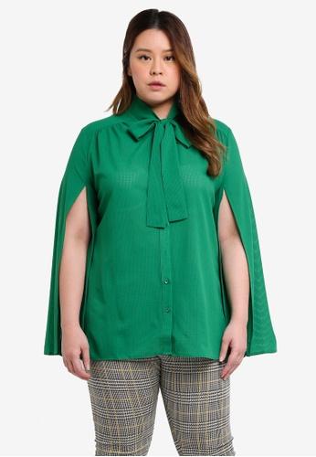 ELVI green Plus Size Yoshi Pussybow Blouse With Split Sleeves 640C0AA6803B8DGS_1