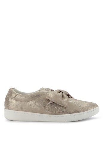 Keds pink Ace Bow Glitter Suede Slip Ons 684C8SH5C27341GS_1
