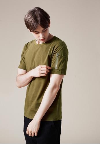 Life8 green MA-1 Pocket Crew Neck Tee In Mediem Weight Cotton-03865-Green LI283AA0FFPGSG_1