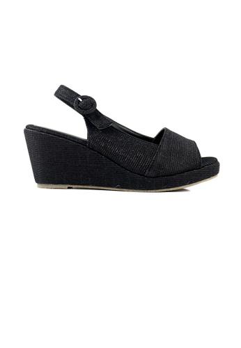 SHINE black SHINE Glitter Slingback Wedge Sandal 37C62SHB6A79C4GS_1