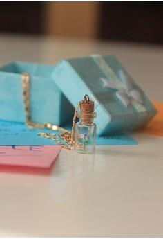 Craftika's Bottled Pastel Bule Origami Rose Necklace