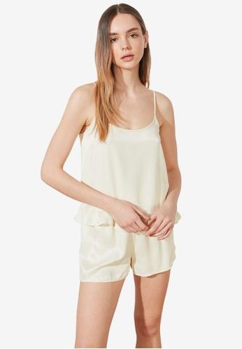 Trendyol 白色 荷葉飾Detail 睡衣組 2B152AA2AEF06EGS_1