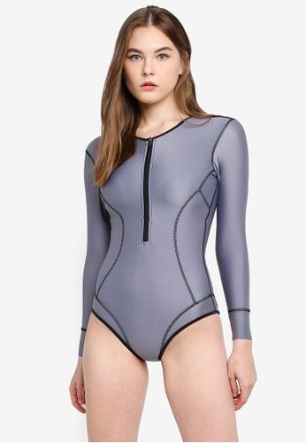 PINK N' PROPER grey Jae Long Sleeve Bodysuit Rash Guard 9F533USF075AC2GS_1