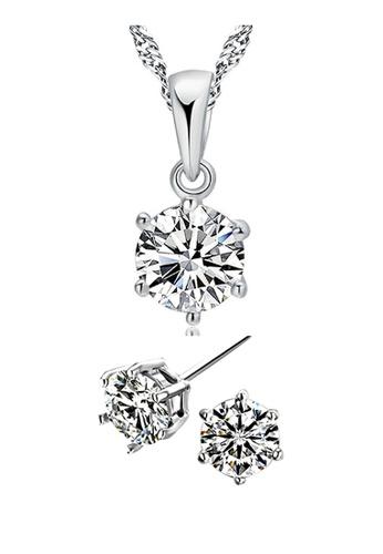 YOUNIQ silver YOUNIQ Hexagon 925 Sterling Silver Necklace Pendant with Brilliant Cut Cubic Zirconia & Earrings set YO999AC14SGBMY_1