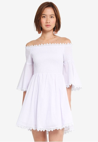 INDIKAH white Off Shoulder Fluted Sleeve Smocked Dress 4AB2AAA7A1ACA2GS_1