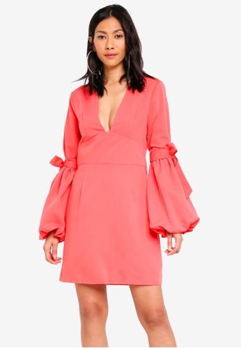 Glamorous pink Flare Sleeve Skater Dress E0337AA3412C3AGS_1