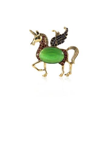 Glamorousky silver Fashion Creative Plated Gold Pegasus Unicorn Brooch with Cubic Zirconia 9C4B1AC0910704GS_1