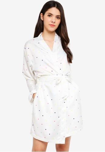 Supre white and multi Satin Sleep Robe 2D1DDAA3880A0DGS_1