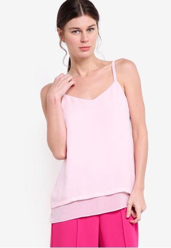 WAREHOUSE pink Double Layer Cami WA653AA88LDBMY_1