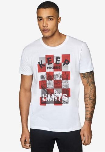 ESPRIT white Print Jersey T-Shirt 41D0BAA55085ECGS_1