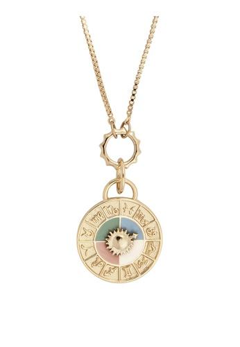Wanderlust + Co gold Zodiac Sundial Gold Necklace B4A46AC11BD93EGS_1