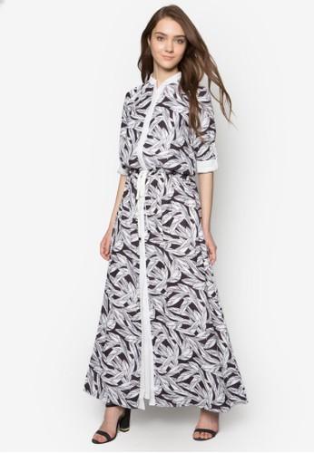 樹葉印esprit 台中花襯衫式長洋裝, 服飾, 服飾