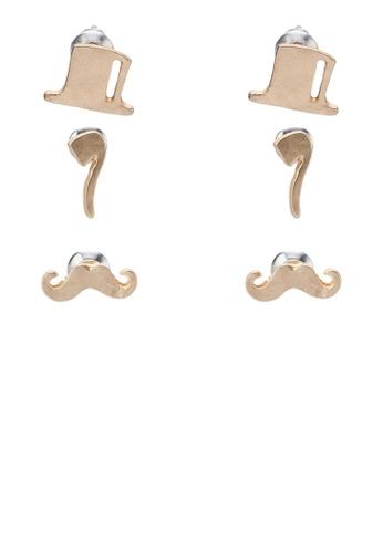 Something Borrowed gold Moustache Multipack Earring SO819AC79SEEPH_1