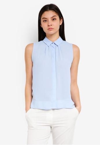Dorothy Perkins blue Petite Blue Sleeveless Shirt D7F3DAA83053B1GS_1