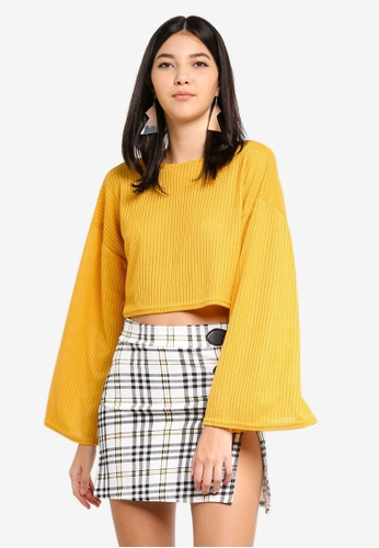 MISSGUIDED yellow Cut And Sew Crop Golden Rod Yellow Sweater E6DDEAAE32C52BGS_1