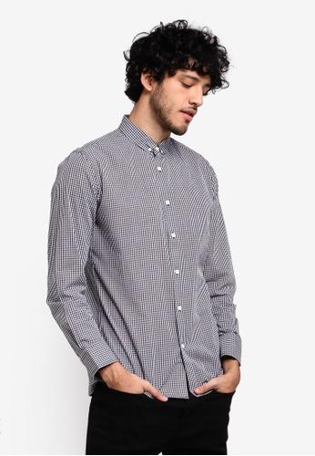 ZALORA black Button Down Formal Checkered Long Sleeve Shirt 01E1DAA7B72938GS_1